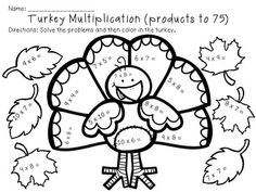 math worksheet : turkey tracks  feather facts  math printables color by the code  : Thanksgiving Division Worksheets