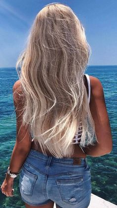 Platinum Blonde Balayage Ombre For Summer Haircolor - Dazhimen Ombre Hair platinum ombre hair Blonde Hair Looks, Brown Blonde Hair, Blonde Hair For Summer, Blond Hair Highlights, Beach Blonde, Platinum Blonde Balayage, Balayage Ombre, Color Rubio, Ombre Hair
