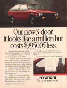 Hyundai Car – Red- New Excel 3 door Hatchback (1986)