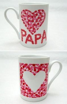 mugs pour papa - Regalos Diy For Kids, Crafts For Kids, Diy Christmas Mugs, Cadeau Parents, Diy Mugs, Navidad Diy, Painted Mugs, Fathers Day Crafts, Gifts For Dad