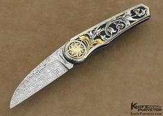 Howard Hitchmough Custom Knife Tim George Engraved Damasteel and 416 Stainless Steel Linerlock - Howard Hitchmough custom knife - image 1