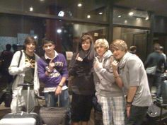 One of the very first photos of One Direction! They're at an airport here, flying to the Judges House!