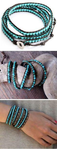 Turquoise Leather Wrap Bracelet #boho #love #want