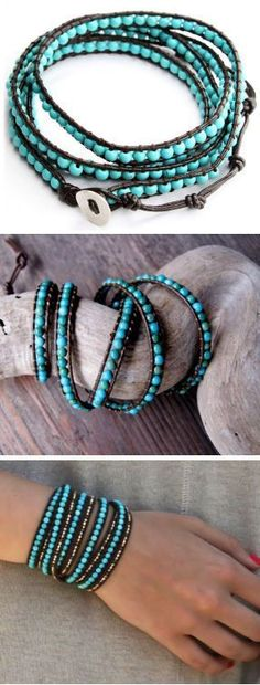 Turquoise Leather Wrap Bracelet #boho #love #want