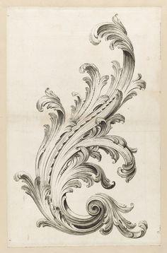 Alexis Peyrotte - Print, Acanthus Leaf Design, 1740