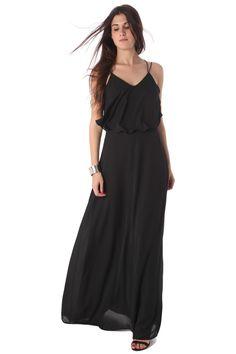 Black double layer maxi dress with spaghetti strap - 69,90 € - https://q2shop.com/