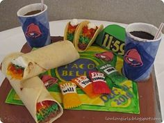 My brother loved Taco Bell, so we thought it was only natural that we make a him a Taco Bell cake. This link also has a tips on How to Make Marshmallow Fondant for Cake Decorating. Cakes That Look Like Food, Just Cakes, Crazy Cakes, Fancy Cakes, Unique Cakes, Creative Cakes, Realistic Cakes, Cupcake Cakes, Cupcakes