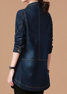 Turndown Collar Long Sleeve Denim Coat - Trend Way Dress Long Denim Jacket, Denim Coat, Camo Jacket Women, Coats For Women, Clothes For Women, Iranian Women Fashion, Denim Ideas, Denim Outfit, Blouse Designs