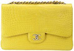 CHANEL - Yellow Alligator http://www.purseblog.com/chanel-bags/chanel-classic-flap-in-yellow-alligator.html