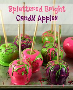 Splattered Bright Candy Apples. Find out how to make these bright splattered candy apples and you can even do them from scratch if you want!