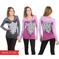 Vocal V Neck Burnout Long Sleeves Wing Fleur de Lis Cross Print Shirt Stud USA