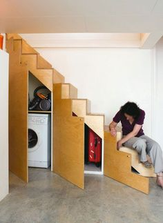 Under the stairs storage - - To connect with us, and our community of people from Australia and around the world, learning how to live large in small places, visit us at Staircase Storage, Stair Storage, Basement Storage, Hidden Storage, Basement Remodeling, Bathroom Remodeling, Space Under Stairs, Tiny House Stairs, Small Places