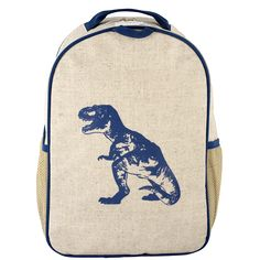 Blue Dinosaur Toddler Backpack - Raw Linen