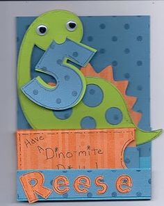 Dinosaur card idea (holding the year in his mouth!)