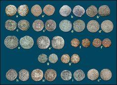 """Numisarchives, Navarre, Coin, Carlos II, Evreux.  Imitaciones francesas de Carlos II """"el Malo"""": a.- Grueso con tres lises, imitación de la emisión francesa de 1359 (a'); b.- Grueso de estrella, imitación de las emisiones francesas  de 1359-1360 (b'); c.- Grueso blanco de castillo flordelisado, imitación de la emisión francesa de 1360 (c', c""""); d.- Grueso banco con corona, imitación de la emisión francesa de 1360 (d'); e.- Grueso banco con flores de lis, imitación de las emisiones francesas…"""