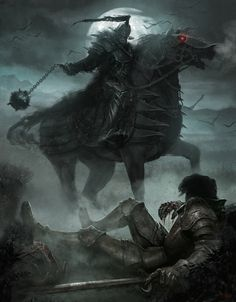 Death at the Marshes Picture  (2d, fantasy, moon, death, knight, sword, evil, horse, horseman)
