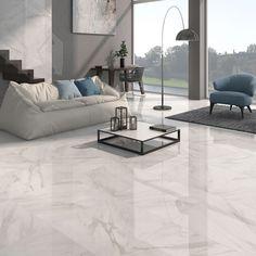 Living Room Modern Floor Tiles Design Luxury Calacatta White Gloss Floor Tiles Grey Vein Design In 2019 Living Room Tiles, Grey Flooring, Large White Tiles, Living Room Flooring, White Floors, Tile Design, White Marble Floor, Trendy Kitchen Tile, Living Room Designs
