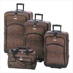 Whether it's a trip around the world or a quick weekend get-away, this luggage set gets you there with style to spare! Fashionable wheeled luggage quartet shows its wild side in a luscious matching leopard print. Plenty of zippered pockets hold every essential for the savvy traveler.