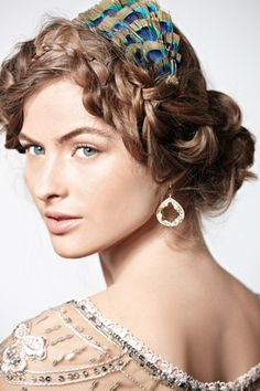 Wedding #hair with a peacock accent. See more #wedding beauty looks: http://ccwed.me/Izo9HA