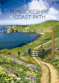 Pembrokeshire Coast Path, Pembrokeshire Wales, Posters Uk, Travel Posters, Best Places To Travel, Places To Visit, Wales Snowdonia, Welsh Coast, British Travel