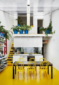 These Bright Yellow Stairs Have Open Fronts For Extra Storage