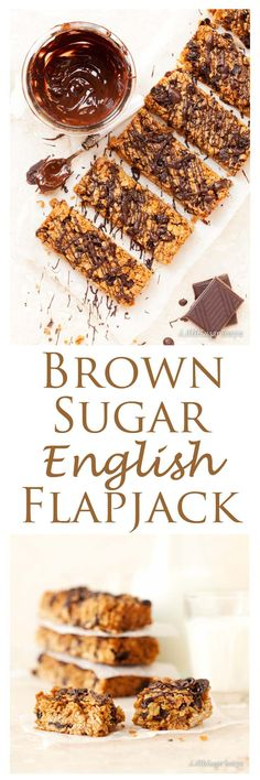 Brown Sugar Flapjack: bursting with plump, juicy raisins, a hint of spice and a drizzle of dark chocolate. Quick & easy to make. Perfect for lunch boxes, picnics or scoffing straight from the tin