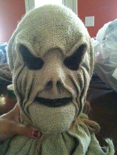Creepy Scarecrow Tutorial- Dollar store skull cover in burlap