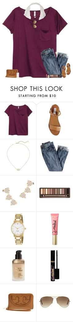 """""""•My life is either going really good or really bad right now but I can't tell which.•"""" by maggie-prep ❤ liked on Polyvore featuring H&M, Steve Madden, Kendra Scott, J.Crew, Urban Decay, Kate Spade, Too Faced Cosmetics, Tory Burch, Ray-Ban and Casetify"""