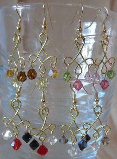 TriColor Crystal & Gold Twist Dangle Earrings by Pizzelwaddels