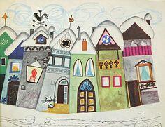 Marjanca Jemec Bozic, winter in the village (via Marjanca Jemec Božič) House Illustration, Graphic Illustration, Stone Painting, House Painting, Graphic Design Pattern, Naive Art, Winter Art, City Art, Whimsical Art