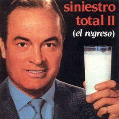 Portada del disco de Siniestro Total 'II (El regreso)'. En la imagen, el actor estadounidense Bob Hope con un vaso de leche.