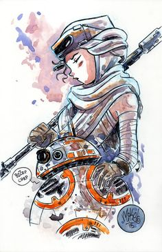 Felt like sketching Rey & BB-8 this morning. Those interested, original is in my shop.
