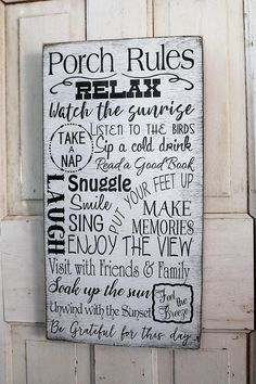 Porch Rules Sign Front Porch Rules Back Porch Rules Shabby Chic Primitive Vintage Style Typography Word Art Great Gift For Mom Porch Rules Sign Primitive Homes Porch Signs