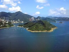 A view of Middle Island in the foreground and Repulse Bay in the background from the Ocean Park cable car ride (in the Southern District) in Hong Kong