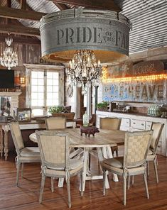 This Rustic Farmhouse Was Built and Decorated Using Almost Entirely Reclaimed Pi. This Rustic Farmhouse Was Built and Decorated Using Almost Entirely Reclaimed Pieces House Design, Rustic House, Farmhouse Dining, Home, Farmhouse Living, Farm House Living Room, Rustic Dining, Home Decor, Rustic Farmhouse Decor