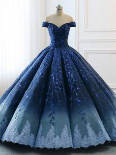 High Quality 2019 Chic Ball Gonws Off-the-Shoulder Ombre Prom Dress Blue  Shade Sequins Women Bride Gown Formal Dresses AMY2392 8f8d4ceba1f2