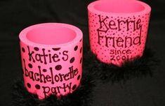 SET of SIX - Bachelorette Party Personalized Koozie With Marabou Trim, Bachelorette Party Favors, Bachelorette Party Supplies