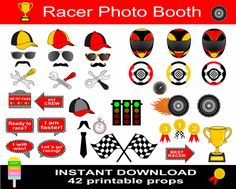 Instant download - DIY printable Racer photo booth props ********************************************************************  *** This is an