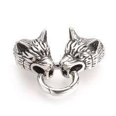 Make in China / Wolf Head Stainless Steel Spring Gate Rings, O Rings with Two Cord End Caps, Antique Silver, Wolf's Head, O Ring, Antique Silver, Cord, Lion Sculpture, Spring Steel, Stainless Steel, Gate, Silver Spring