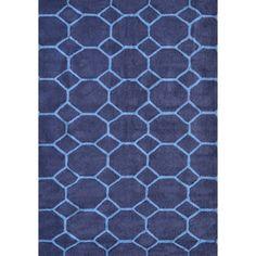 Honeycomb Blue Casual Indoor Outdoor Area Rugs