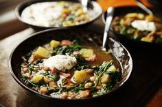 Easy Ham Kale Bean Soup by Alice Currah for : Hearty, delicious and comforting.