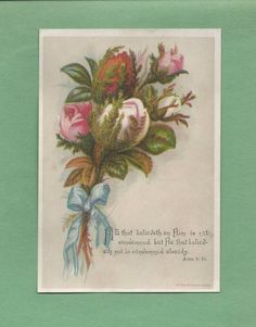 Lovely ROSEBUDS, BIBLE VERSE On Beautiful Unused VICTORIAN Greeting Card