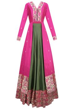 Pink floral pathani work jacket style kurta with green flared skirt available…
