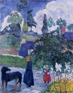 """""""Among the lillies"""" ~ byPaul Gauguin, 1893 ~ Style:Post-Impressionism ~1st Tahiti period ~ Genre: landscape ~ oil on canvas"""