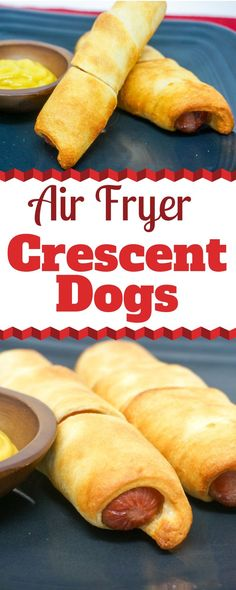 The Air Fryer is the absolute BEST way to cook hot dogs. No more blackened hot dogs from the grill. Air Fryer Hot Dogs turn out perfectly crisp on the outside and juicy inside. Air Frier Recipes, Air Fryer Oven Recipes, Air Fryer Dinner Recipes, Air Fryer Recipes Potatoes, Air Fryer Recipes Breakfast, Crescent Rolls, Crescent Roll Dough, Cooks Air Fryer, Air Fried Food
