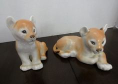 Lion Mother & Her Cub Baby Two ((2) Lovely Porcelain Lion Figurines