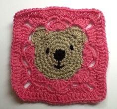 Teddy bear granny square pattern