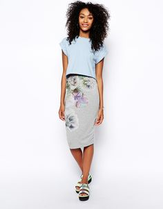 Enlarge ASOS Pencil Skirt In Photographic Floral