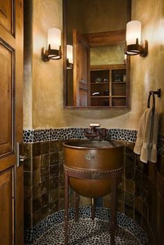 Rustic Powder Room Design Ideas, Pictures, Remodel and Decor