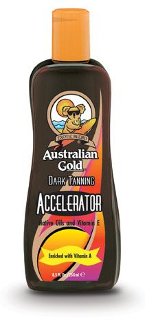 [Australian Gold | Accelerator] With Native Australian Oils and Vitamins A and E, this exotic blend is a superb tanning formula, which allows your natural pigmentation process to tan as fast as nature allows! Exclusive Biosine® Complex formula carries nutrients, moisturizers and protectants keeping your skin hydrated and conditioned to allow maximum UV stimulated melanin (tanning) production.